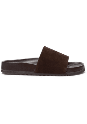 TOM FORD - Wiglow Logo-perforated Suede Slides - Brown