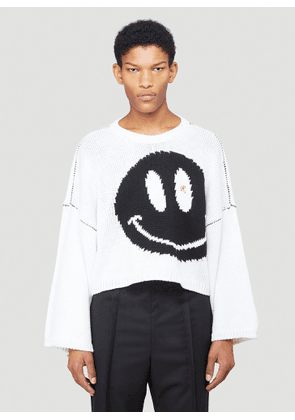 Raf Simons Smiley Face Knitted Sweater in White size XS