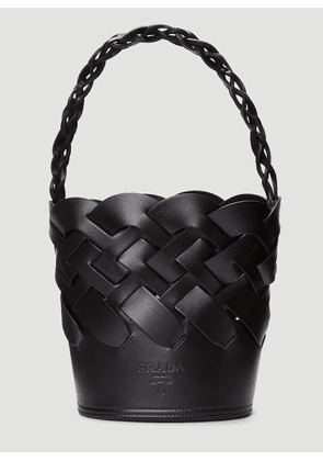 Prada Woven Leather Bucket Bag in Black size One Size