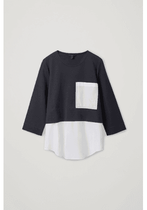 OVERSIZED WOVEN-JERSEY TOP