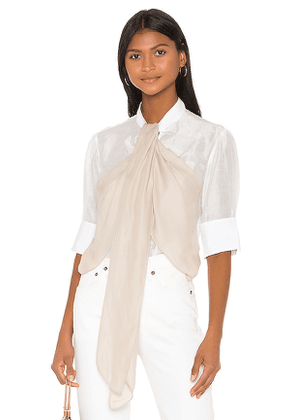 7 For All Mankind Flounce Front Blouse in White. Size S,M,L.