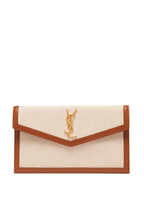 Saint Laurent - Uptown Ysl-monogram Canvas And Leather Pouch - Womens - Beige Multi