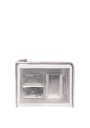 Anya Hindmarch - Envelope Pvc And Metallic-leather Pouch - Womens - Silver