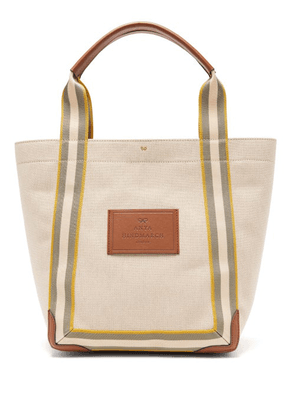Anya Hindmarch - Pont Small Leather-trimmed Canvas Tote Bag - Womens - White Multi