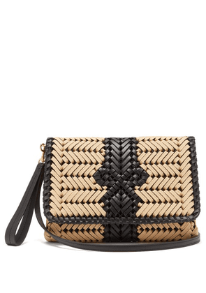 Anya Hindmarch - The Neeson Woven Leather-trimmed Cross-body Bag - Womens - Beige Multi