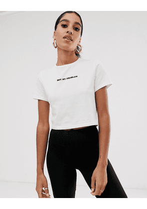 ASOS DESIGN cropped cap sleeve top with not my problem embroidery-White