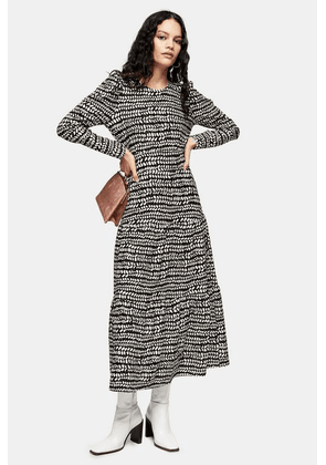 Womens Black And White Abstract Tiered Midi Dress - Monochrome, Monochrome