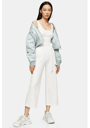 Womens White Ribbed Jumpsuit With Bust Seam - White, White