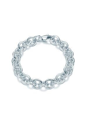 Large round link bracelet in sterling silver, 7.5' long - Size 7.5 in