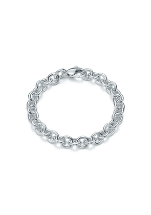 Medium round link bracelet in sterling silver, 7.5' long - Size 7.5 in