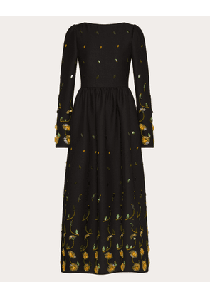 Valentino Embroidered Crepe Couture Dress Women Multicoloured Virgin Wool 65%, Silk 35% 48