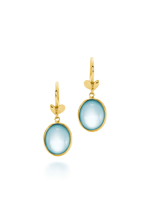 Paloma Picasso® Olive Leaf drop earrings in 18k gold with blue topazes
