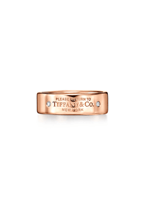 Return to Tiffany™ narrow ring in 18k rose gold with diamonds, 6 mm wide - Size 5 1/2