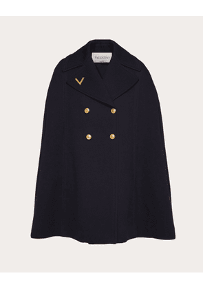 Valentino Double Worsted Wool Cape Women Navy Virgin Wool 100% 40