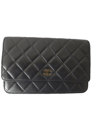 Chanel wallet on chain black leather handbag