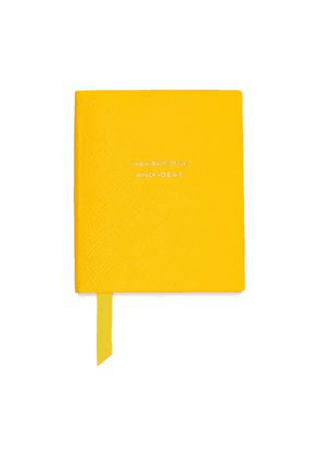 Smythson Printed Textured-leather Notebook Woman Yellow Size --