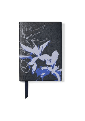 Smythson The Soho Printed Textured-leather Notebook Woman Black Size --