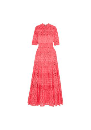 Costarellos Lace-trimmed Broderie Anglaise Cotton-blend Gown Woman Coral Size 36