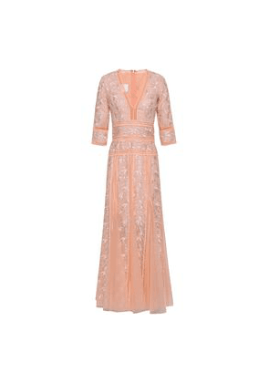 Costarellos Fluted Embroidered Lace And Point D'esprit Gown Woman Pastel orange Size 36