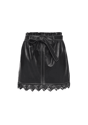 Stand Studio Dalia Belted Lace-trimmed Leather Mini Skirt Woman Black Size 34
