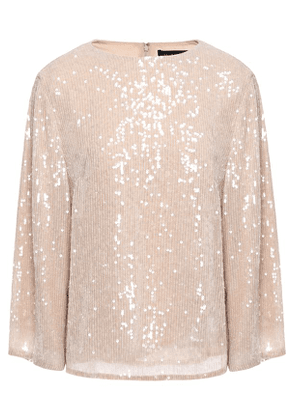 Sally Lapointe Sequin-embellished Georgette Blouse Woman Beige Size 2