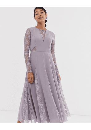 ASOS DESIGN midi dress with long sleeve and lace panelled bodice-Purple