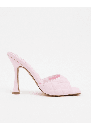 ASOS DESIGN Nancy quilted square toe mules in pink