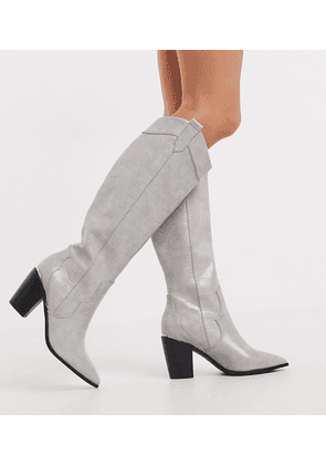 ASOS DESIGN Wide Fit Catch Up western pull on knee boots in grey croc