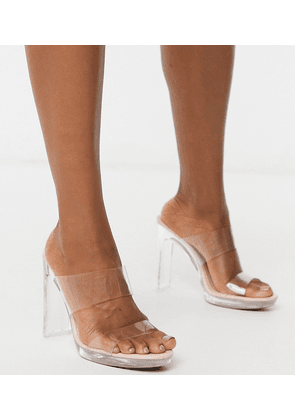 ASOS DESIGN Near clear platform mules in clear-Pink