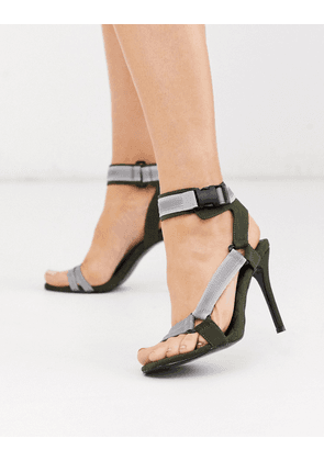 ASOS DESIGN Nessa sporty heeled sandals in khaki and reflective-Multi