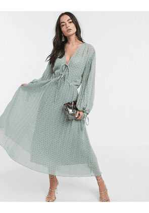 ASOS DESIGN pleated midi dress with drawstring waist and balloon sleeves in chevron dobby in sage green