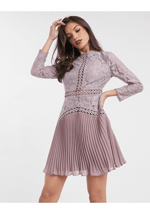 ASOS DESIGN lace mini dress with trim inserts and pleated skirt-Multi