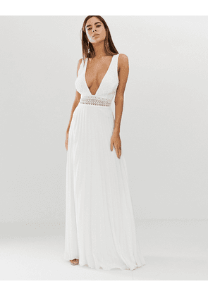 ASOS DESIGN sleeveless maxi dress with lace bodice and pleated skirt-White