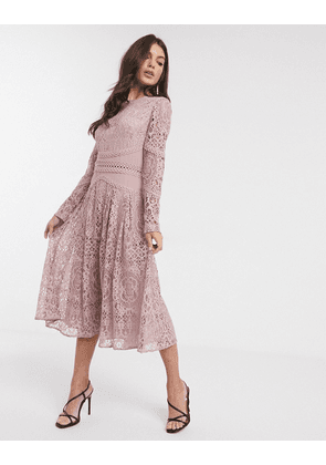 ASOS DESIGN long sleeve prom dress in lace with circle trim details-Pink