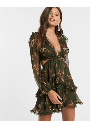ASOS DESIGN long sleeve mini dress in floral print with cluster embellishment detail and circle trims-Multi