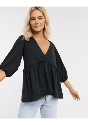 ASOS DESIGN smock with blouson sleeve in texture-Black