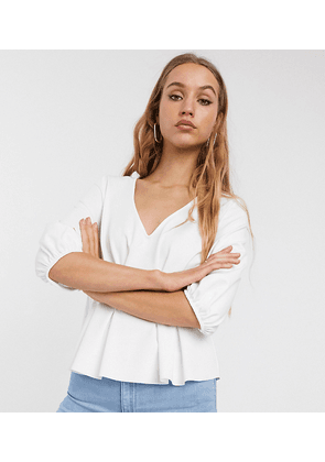 ASOS DESIGN Tall Exclusive v neck waisted scuba top in white