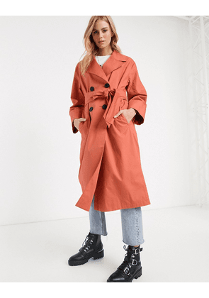 ASOS DESIGN double breasted lightweight trench coat in teracotta-Pink