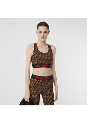 Burberry Monogram Print Stretch Jersey Cropped Top, Brown