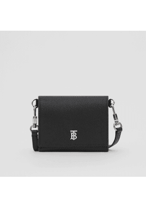 Burberry Small Grainy Leather Wallet with Detachable Strap, Black