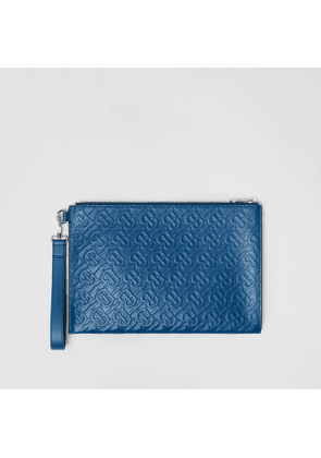Burberry Monogram Leather Zip Pouch, Blue