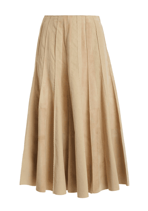 Gabriela Hearst Ernst Pleated Organic Cotton Corduroy Midi Skirt