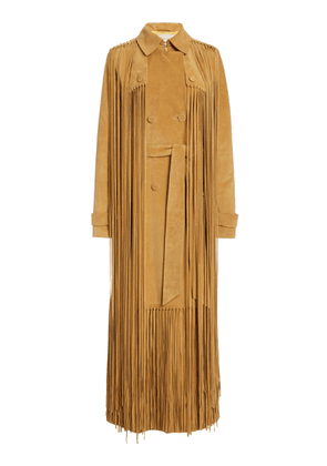Gabriela Hearst Cattell Fringed Suede Double-Breasted Trench Coat