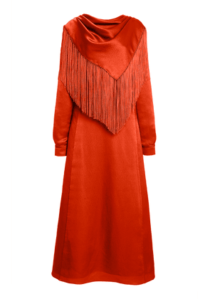 Gabriela Hearst Rouge Fringed Silk Midi Scarf Dress