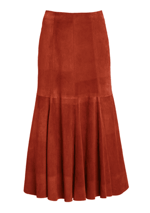 Gabriela Hearst Amy Suede Flared Midi Skirt