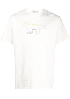 Maison Kitsuné logo embroidered crewneck T-shirt - White