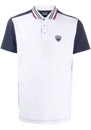 Ea7 Emporio Armani colour-block logo polo shirt - White