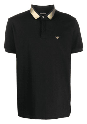 Emporio Armani metallic collar polo shirt - Black