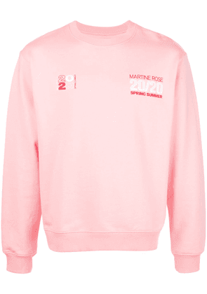 Martine Rose embroidered logo crew-neck sweatshirt - PINK