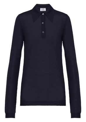 Prada cashmere knitted polo shirt - Blue